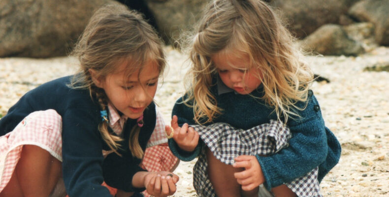 ESFJ - ISFJ Relationships: Jess and Lou playing on the beach as children