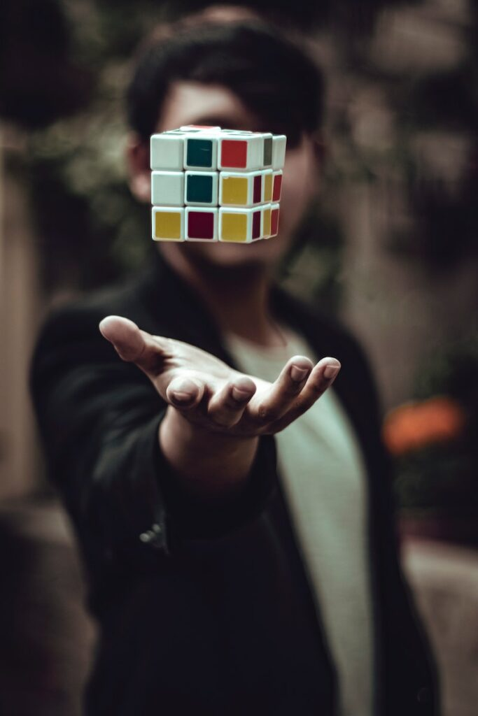 An INTP being so logical and playing with a rubiks cube
